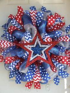 Patriotic 4th of July  USA Deco Mesh Wreath by TowerDoorDecor, $60.00