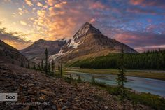 Summertime by ArturStanisz  Artur Stanisz British Columbia Canada Clouds Colours Mountains Mt. Robson Rocky Mountains Sunrise Un