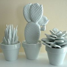 Naked Decor » SET OF 3 MODERN WHITE PORCELAIN CACTUS ($100-200) - Svpply