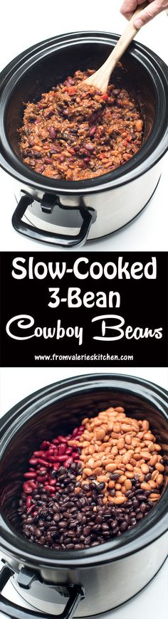 Slow-Cooked 3-Bean Cowboy Beans and a Cookbook Giveaway! ~ http://www.fromvalerieskitchen.com