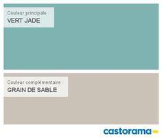 Castorama Nuancier Peinture - Mon harmonie Peinture  VERT JADE satin de DULUX VALENTINE Crême de couleur Salon Style, Interior Paint Colors, Bathroom Kids, Baby Bedroom, Modern Colors, Jade Green, Little Houses, Sweet Home, New Homes