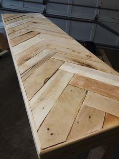 Herring bone pattern console table