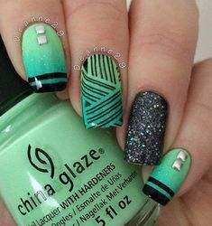 Here's another green and black combo for trendsetters and stylish girls. The glitters adds a fun and glam to the design.