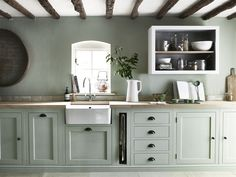 Modern Kitchen Interior We're Calling It: The Top Kitchen Paint Colors for 2018 - If you love both color and kitchen design, you're sure to find something to excite you here. Sage Green Kitchen, Green Kitchen Cabinets, Painting Kitchen Cabinets, Kitchen Cabinet Design, Kitchen Interior, Kitchen Black, Kitchen Counters, Kitchen Without Top Cabinets, Painted Kitchen Cupboards