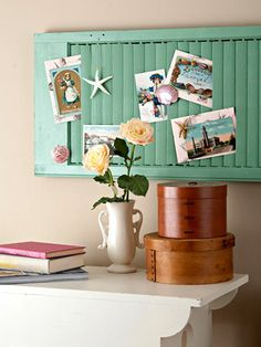 Another use for an old shutter. This would be great for an office or kids room. You could also use it in the kitchen to old recipes and coupons.