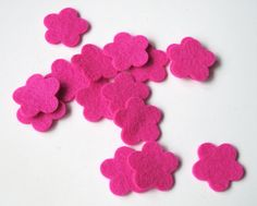 Flower Die Cuts  100%   Wool Felt Tiny Blossoms Set of 15  Appliques Sewing Crafting Scrapbooking Confetti Party Supply Wedding Shower DIY
