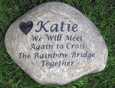 Rainbow Bridge Custom Engraved River Stone Rock Memorial