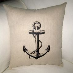 French Anchor Nautical Inspired Pillow, Antique Boating Cushion, French Country, Beach House, Cottage, Neutral Home Decor.