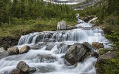 Download wallpapers mountain waterfall, mountains, forest, mountain river, USA