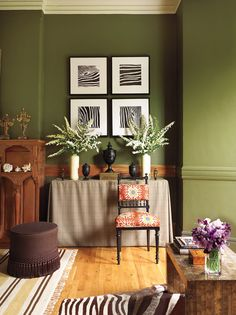 Elaine Griffin Interior Design - Portfolio (green wall paint - a little too 70s avocado?)