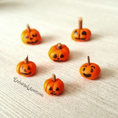 Special order from one of our customers: custom hand painted jack-o-lanterns from our micro miniature pumpkins!