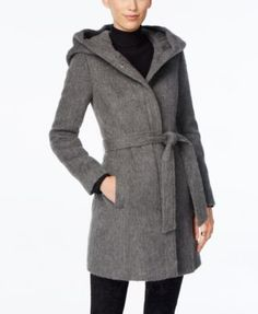 Savor the soft, fuzzy feel and smooth, fashionable style of this walker coat from Cole Haan. | Wool/polyester; lining: polyester | Dry clean | Imported | Hooded | Zipper front closure with snap-button