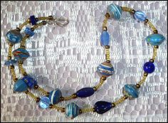 """Beaded Necklace - Rolled Paper Beads and Glass Beads - Blue - 22"""" - Jewelry Handcrafted in Haiti by CaribbeanBoutique, $18.95"""