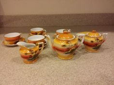 Vintage-Childrens-Tea-Set-From-Japan-In-Excellent-Condition-Sunset-Pattern