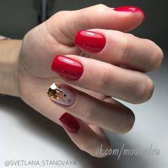 Chunky glitter and small fine glitter Red Acrylic Nails, Acrylic Nail Designs, Gelish Nails, Manicure And Pedicure, Holiday Nails, Christmas Nails, Love Nails, Fun Nails, Short Square Nails