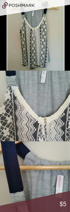 "Summer Tank Cure Sumner lace overlay tank - navy blue fabric underlying front lace panel with gray back panel - rounded bottom hemline - flattering neckline with 2 small decorative buttons polyester/cotton/rayon/nylon fabric - chest measures 18 1/2"" - length is 25"" - Size L..thinking jr large however Xhilaration Tops Tank Tops"