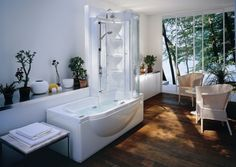 Minimalist White Corner Tub Shower Combo for Bathroom Furniture Design  Inspirations with Unique Curved Bathtub Style and Round Style Glass  Materials Shower ...