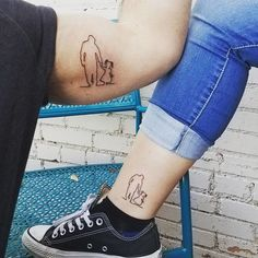 Get more father-daughter tattoo ideas at CafeMom. This outline tattoo of a father and his little girl is so sweet. It looks great on both of them! #tattooideas #tattoos