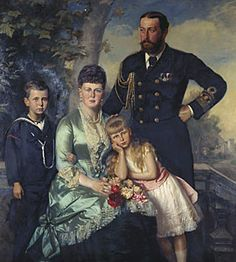"""Carl Rudolph Sohn, """"Alfred, Duke of Edinburgh, with his family"""", 1884. Queen Victoria's son Alfred was married to Grand Duchess Maria Alexandrovna of Russia and their first two children were Prince Alfred and Princess Marie of Edinburgh."""