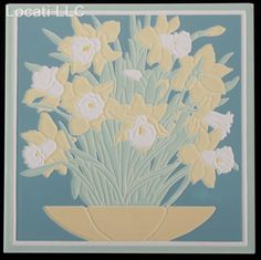 American Painted Porcelain Art Tile Attributed to American Olean; mid 20th century; with painted floral relief. Daffodils on teal blue background. Decorative Tile.