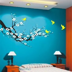 cherry blossom wall decal birds decals flower vinyl by NatureStyle, $52.00....i could probably paint this myself. LOVE the colors!