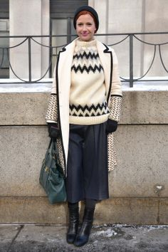 Fairisle knits are back on the streets of #NYFW seen here paired with culottes and a geometric coat #AW14 #MBFW