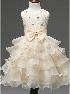 Ball Gown Knee-length Flower Girl Dress - Cotton Blends Sleeveless Scoop Neck With Ruffles/Bow(s)/Rhinestone (010087433)