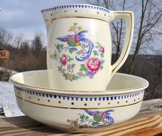 Lovely Antique Pitcher & Wash Bowl Set Keramis Belgium Long Tailed Bird Design
