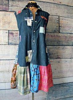 Shabby Chic Dress Denim Shirtdress Western Clothing Rustic Country Patchwork Dress Refashioned Clothes Prairie Worn Drop Waist M L Denim Shirt Dress, Denim Outfit, Denim Purse, Diy Shirt, Western Outfits, Boho Outfits, Tomboy Outfits, Diy Clothes Refashion, Refashioned Clothes