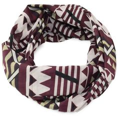 AZTEC PRINT INFINITY SCARF (TEAM COLOR) ($15) ❤ liked on Polyvore featuring accessories, scarves, round scarves, tube scarves, loop scarves, round scarf and holiday scarves