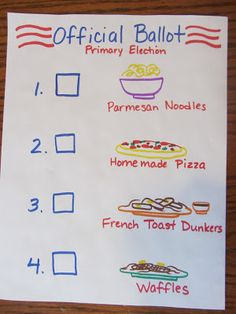 Primary and general elections to decide dinnertime meal.  Unit study to teach the election process. The Unlikely Homeschool