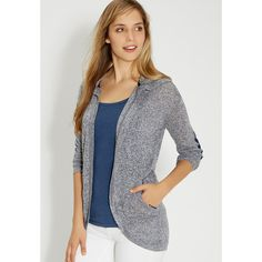 maurices Maurices - Hooded Cardigan With Crocheted Elbow Patches In... (40 CAD) ❤ liked on Polyvore featuring tops, cardigans, crochet top, maurices, blue cardigan, rayon tops and blue top