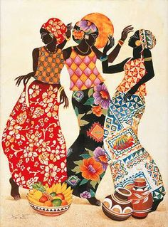 Tangletown Fine Art Jubilation by Keith Mallett Fine Art Giclee Print on Gallery Wrap Canvas, 35 African American Art, African Women, American Artists, Black Art, 4 Image, Afrique Art, African Paintings, Tapestry Design, Tapestry Wall