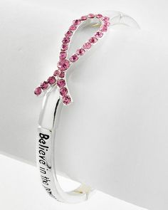 Antique Silver Tone / Pink Rhinestone / Lead&nickel Compliant / Metal / Stretch / Message W/pink Ribbon / Bracelet / Includes Bookmark