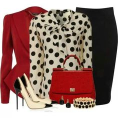 Corporate chic.:. I'm so into polka dots, silks and bold colors. This pairing is super cute!