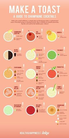 Champagne always goes well with appetizers. Here's a variety of champagne drinks.