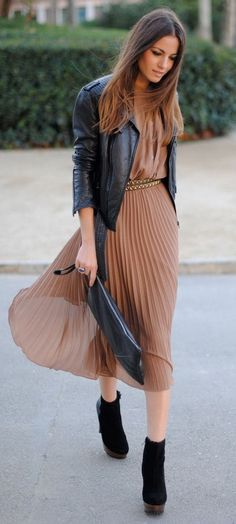 how to mix a leather jacket with a pleated dress