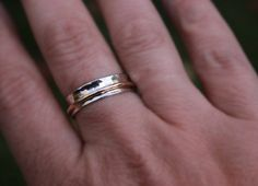 Hammered Sterling Silver Spinner Ring with Gold Spinner 925 Argentium Sterling on Etsy, $65.35 AUD