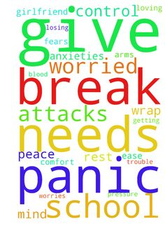 Panic attacks -  Father, my girlfriend has frequent panic attacks and I am worried about her blood pressure. I am worried about her losing control, and getting in trouble. Please wrap her in your loving arms, and give her comfort and ease her mind of all her anxieties, worries, and fears. Let her be a t peace. She needs a break from school. Please give her a break from school. She needs some rest. I pray in Jesus name, Amen.  Posted at: https://prayerrequest.com/t/SOR #pray #prayer #request…