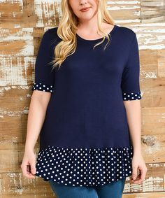 Love this Navy & White Polka Dot-Trim Short-Sleeve Top - Plus on #zulily! #zulilyfinds