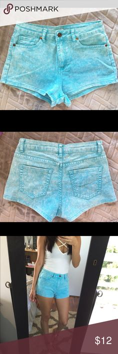 High Waisted Acid Wash Denim Shorts Worn once or twice.  Super cute shorts!  Great condition.  I'm usually a size 26, these are a 27.  They run small. Forever 21 Shorts Jean Shorts