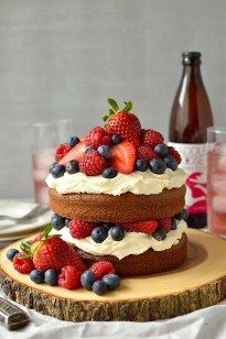 Lightly spiced mixed summer berry cider cake frosted with a generous layer of vanilla mascarpone cream icing; perfect for a Spring or Summer celebration.