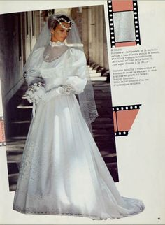1984_pronuptia Beautiful Wedding Gowns, Sexy Wedding Dresses, Wedding Dress Sleeves, Unique Dresses, Designer Wedding Dresses, Bridal Dresses, Vintage Gowns, Vintage Bridal, Bridal Lace