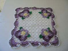 HAND CROCHETED SQUARE PANSY DOILY