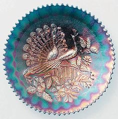 Peacocks plate (Peacocks on the Fence), Northwood Cut Glass, Glass Art, Peacock Pattern, Vintage Carnival, Popular Art, Glass Photo, Fenton Glass, Carnival Glass, Glass Collection