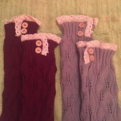 Leg warmers Maroon and grey knitted leg warmers. Never used. Accessories Scarves & Wraps