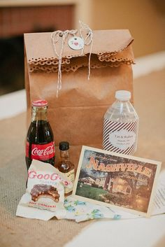 A welcome gift bag for your guests that can beautifully reflect the area (especially for destination weddings) makes the hospitality gesture of the bag extra special.  This example welcomes guests to Nashville and reflects traditional southern staples.  It is beautifully themed, simple, and definitely provides a fine welcome!