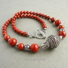 Red Jasper Semiprecious Gemstone Necklace