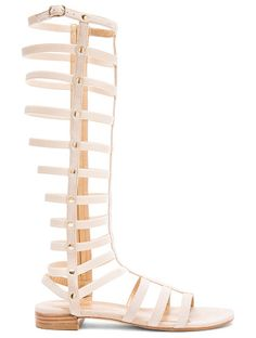 Suede Gladiator Sandals by Stuart Weitzman. Suede upper with leather sole.  Made in Spain.  Shaft measures approx 368mm/ 14.5 inches in height.  Approx 25mm/ 1 i...