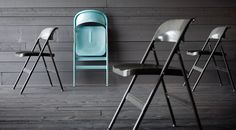 FRODE folding dining chairs from IKEA. We just picked up four of these. Two turquoise, two dark grey. :)